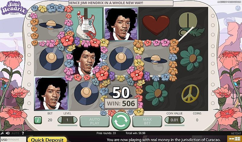 Play Jimi Hendrix slot online at Casino.com UK