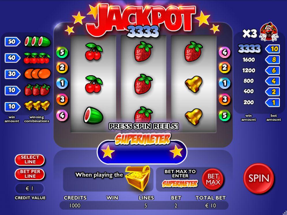 Jackpot 3333 Slot Review Nyx Interactive Screenshot